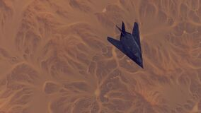 Free Stealth Fighter Jet Aircraft High Altitude Above Arid Mountain Desert With Sediment Mudflat Royalty Free Stock Photo - 191180235