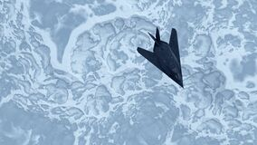 Free Stealth Fighter Jet Aircraft High Altitude Above Frozen Glacier Snowy Frozen Tundra Stock Photography - 191230812