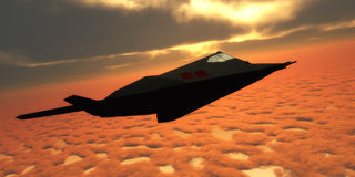 Stealth Fighter Jet Side View. A pilot takes a Stealth Fighter jet through flight maneuvers on a training mission Stock Images
