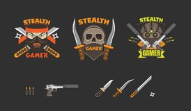 Stealth Gamer avatar badge collection, flat vector illustrations. Stealth Gamer avatar badge collection with skull and ninja, flat vector illustrations Royalty Free Stock Photo