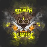 Stealth gamer. Cover with guns, bullets and night vision mask Royalty Free Stock Image