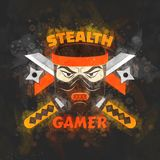 Stealth gamer. Cover with ninja and swords and ninja asterisks Royalty Free Stock Image