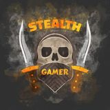 Stealth gamer. Cover with a skull under face mask and hood and a dirk on both sides Stock Image