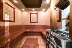 Steam bath sauna. With tiled walls Stock Image