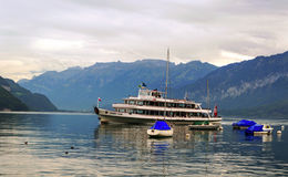 Steam boat at Geneva lake, Switzerland Stock Photo