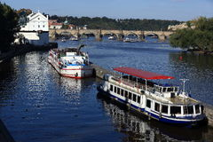 Steam Boat, Lesser Old Town Bridge Tower, Charles Bridge, Moldau,Prague, Czech Republic Royalty Free Stock Photography