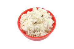 Steam brown rice red bowl Stock Images