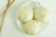Steamed buns. Three steamed buns on white background Royalty Free Stock Photos