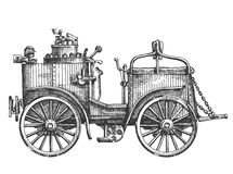 Steam car on a white background. sketch Royalty Free Stock Photography