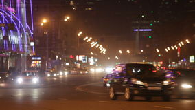 Steam of cars on the night street stock footage