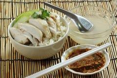 Steam chicken with rice Stock Photo