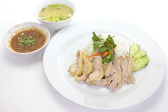 Steam Chicken with Rice Stock Photos
