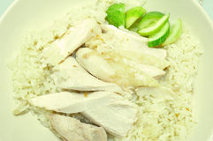 Steam Chicken with Rice (Hainan Chicken) Stock Photo