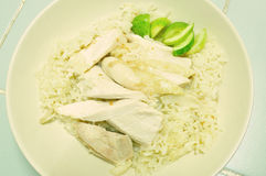 Steam Chicken with Rice (Hainan Chicken) Stock Photos