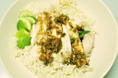 Steam Chicken with Rice (Hainan Chicken) Stock Image