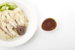 Steam Chicken with Rice Stock Photo