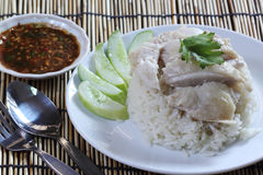 Steam chicken with rice on the plate Royalty Free Stock Image