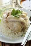 Steam chicken with rice on the plate Stock Image