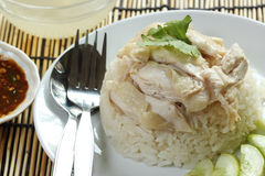 Steam chicken with rice Royalty Free Stock Photography