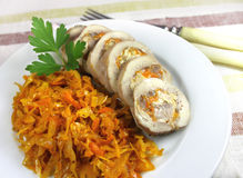 Steam chicken roll spicy stewed cabbage Royalty Free Stock Images