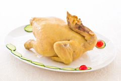 Steam Chicken Specialties - 7th Lunar Month. Whole chicken signifies rebirth, togetherness, and prosperity. steam or boil the chicken with the head and feet Stock Photos