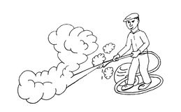 Steam cleaner. Man working steam cleaner machine Stock Photo