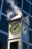 Steam clock. Steam powered clock near Indiana State Museum in downtown Indianapolis Royalty Free Stock Image