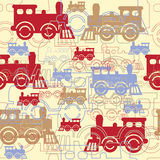 Steam colorful locomotives. Royalty Free Stock Image