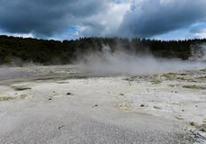 Steaming geothermal pool in New Zealand stock photo
