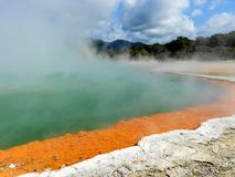 Steamy Champagne Pool in Wai-o-Tapu, New Zealand stock image