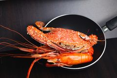 Cooked prawn scene. Royalty Free Stock Photography