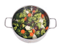 Steam cooked vegetables stock photo