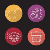 Steam cooking flat linear long shadow icons set Stock Photo