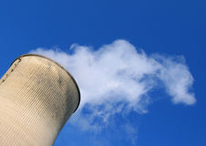 Steam cooling tower power plant Stock Photo