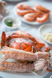 Steam crayfish and crab seafood on plate Royalty Free Stock Photography
