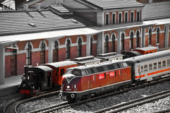 Steam and diesel trains on the railway station Stock Images