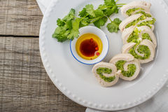 Steam dietary roll chicken breast stuffed with Stock Photos