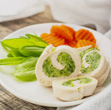 Steam dietary roll chicken breast stuffed with Stock Photography