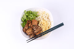 Steam duck and noodle in brown sauce. Stock Photography