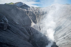 Steam emerging from Mount Bromo crater. Crater of an active volcano in Java, Indonesia Royalty Free Stock Image