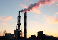 Steam emission from chimneys Stock Photos