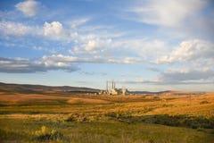 Steam Emission Power Plant. Landscape View Stock Image