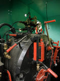 Steam engine. Details of a vintage steam train driving cabin stock images
