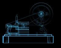 Steam engine. (3D xray blue transparent Royalty Free Stock Photos