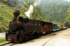 Steam engine. In the mountains Stock Photos