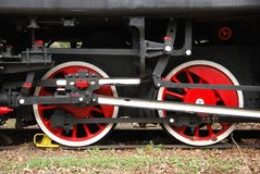 Steam engine. Mechanism wheels detail Royalty Free Stock Images