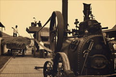 Steam engine in agricultural work stock video