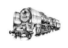 Steam engine art design drawing Stock Photo