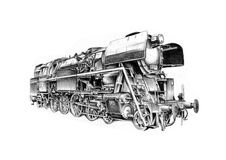 Steam engine art design drawing Stock Photography