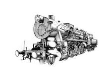 Steam engine art design drawing Royalty Free Stock Photo